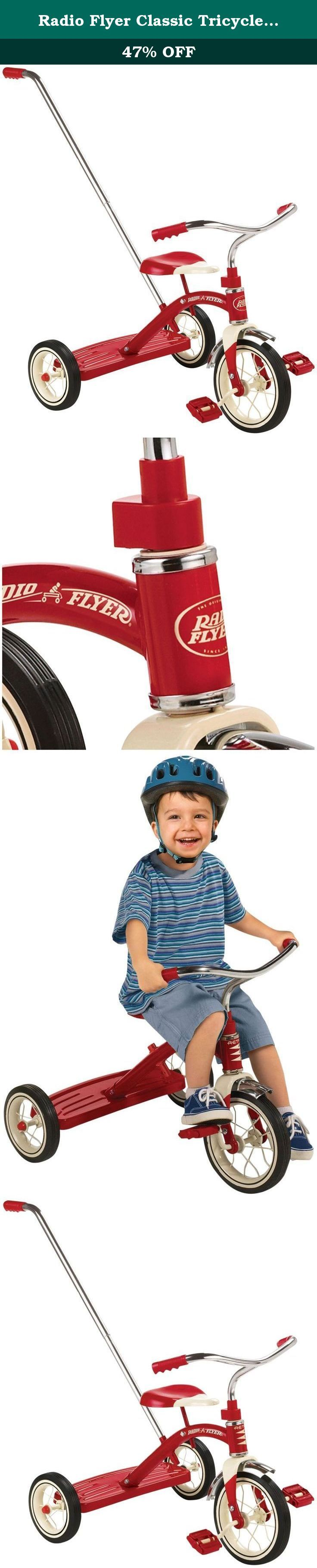 Radio Flyer Classic Tricycle with Push Handle, Red. The Radio Flyer Classic Red Tricycle with Push Handle is great for going to parks or around the neighborhood. The removable 3-position adjustable handle helps guide your child's ride. This sturdy trike also features steel construction, durable spoked wheels, a 10-Inch front wheel and real rubber tires. The controlled turning radius prevents tipping for safe and confident riding. This bright red tricycle is classically styled and includes...