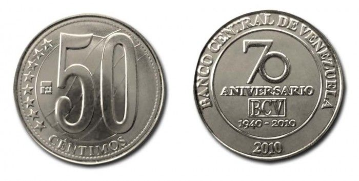 Moneda de 50 céntimos conmemorando el 70 Aniversario del BCV  En fecha 13 de Octubre de 2010 el Banco Central de Venezuela (BCV) puso a circular una emisión especial de la moneda de Bs. 050 diseñada y acuñada por el instituto emisor para celebrar su 70 aniversario.  Se acuñaron 5.000.000 de piezas que se distinguen de las normales de Bs. 050 de fecha 2007 por mostrar en su reverso el logo oficial del 70 aniversario del BCV; en el anverso son iguales. Estas monedas tienen poder liberatorio es…