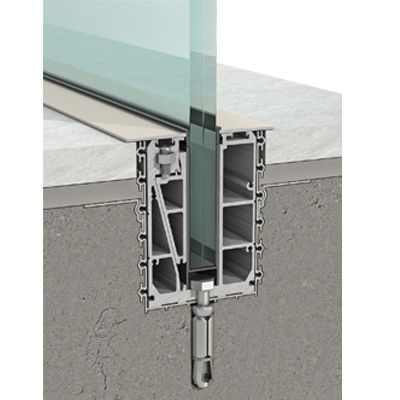 In-floor glass support system The in-floor glass support system is placed in the ground. The base is covered by aluminium covers and special waterproof gaskets at the same level as the final floor. This system is suitable for 16 or 20mm thick gla