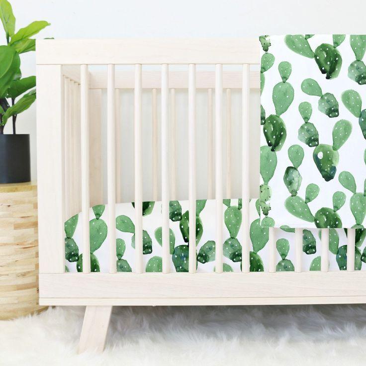 Cactus Print Crib Bedding for a Southwestern Boho Nursery