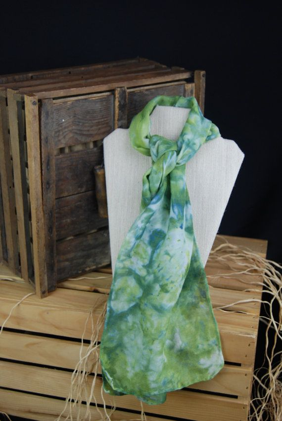 Dont let the wool thing fool you!This wool/silk blend scarf is very light weight and oh so soft. Perfect when the evenings get a little chilly or for wearing with a sweater at the office. Hand dyed in the ice-dye fashion, it is a wonderful surprise to see the mixture of colors.  This scarf is truly one of a kind as the mixture can not be duplicated easily. Soft enough for cancer patients to wear during treatment. We donate a percentage of our scarf sales to Knox Community Hospital for their…