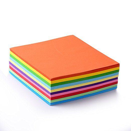 Faltpapier, 500 Blatt 15 x 15 cm, 70 g/qm 10 Farben - bunte hochwertige Faltblätter für Origami und Bastelprojekte