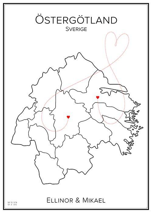 Kärlekskarta. Östergötland. Sverige. Map. City print. Print. Affisch. Tavla. Tryck. Stadskarta.