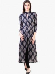 navy blue printed front slit kurti