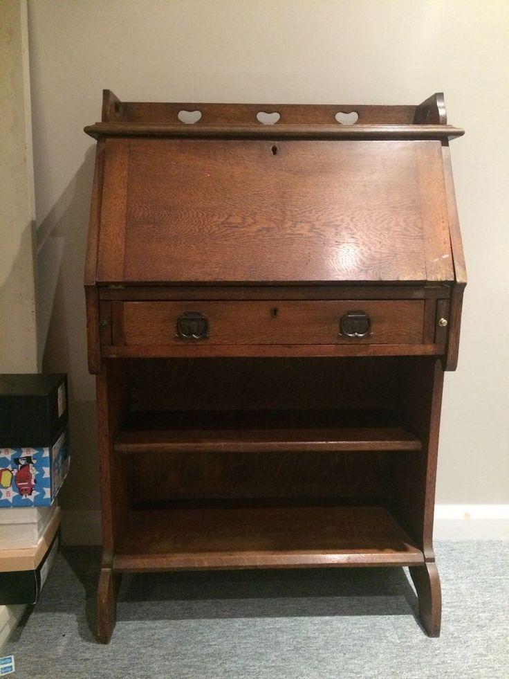 Arts and crafts solid oak desk / bureaux with shelves.  | eBay