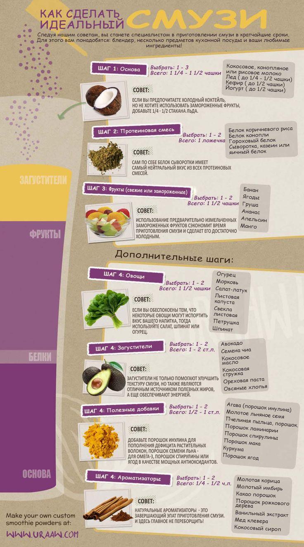 Инфографика о правилах приготовления смузи. #edimdoma #infographics #cookery #smoothies