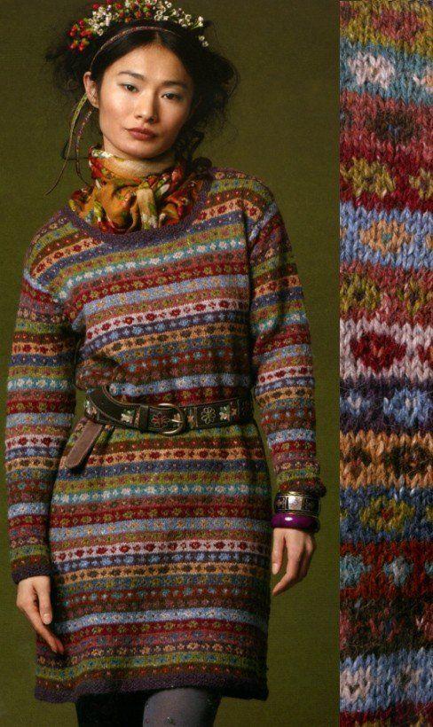 Kaffe Fassett's Fair Isle Lydia scarf kit pattern knitted in Rowan Felted Tweed yarns Got Yarn