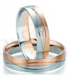 Βέρες γάμου δίχρωμες με διαμάντι Breuning 7105-7106