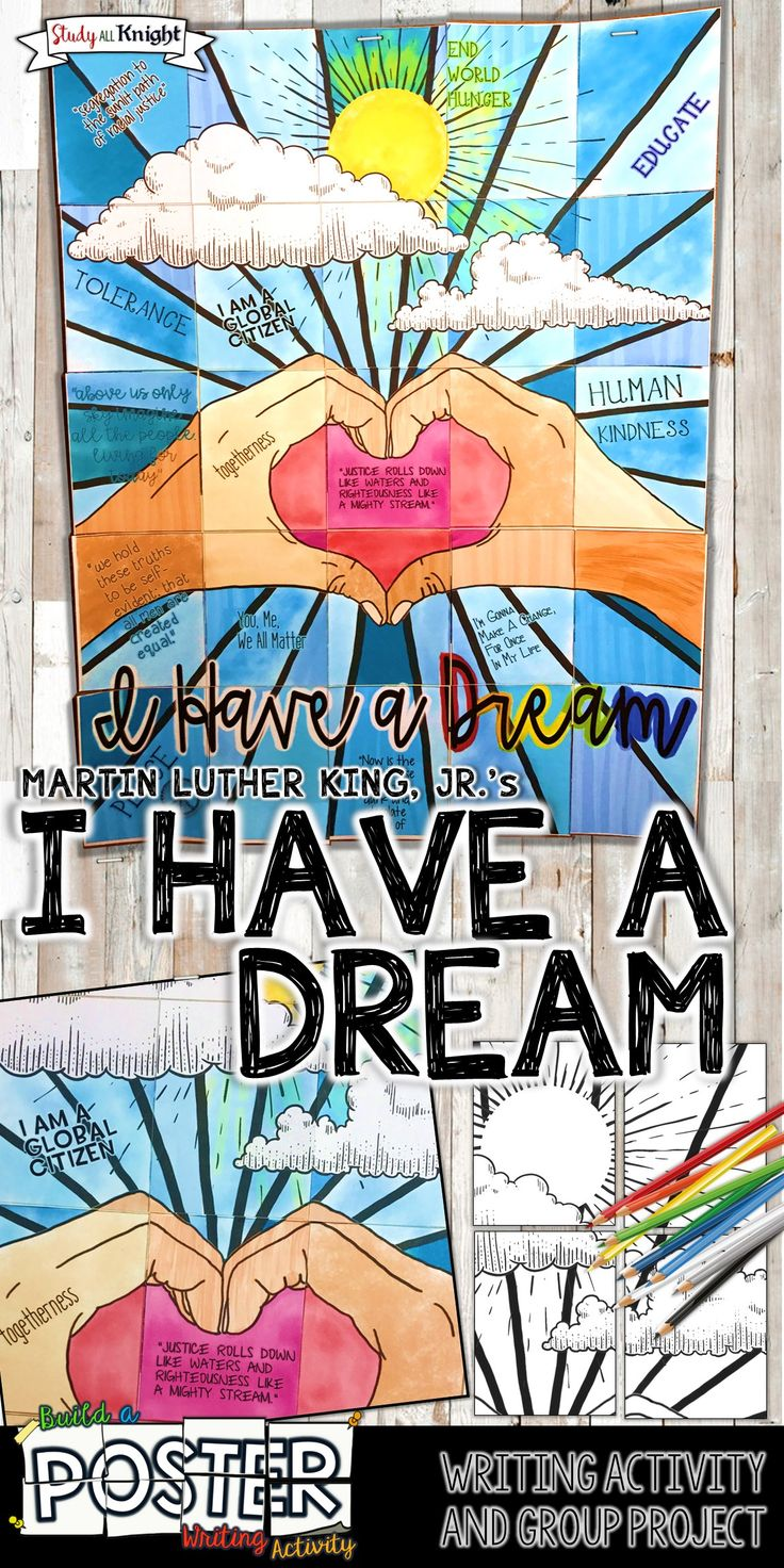 "English Language Arts | History | Middle School | High School | Grades 4, 5, 6 | This Martin Luther King, Jr., ""I Have a Dream,"" collaborative poster combines writing, reflection, coloring, creativity, and group work! All inspired by promoting American hero and civil rights leader, Martin Luther King, Jr. and his iconic speech, ""I Have a Dream.""  #MartinLutherKingJr  #ihaveadream #englishteacher"