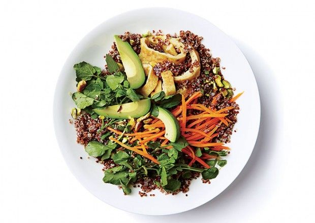 Red Quinoa and Watercress with Fluffy Omelet  Bon Appetit apparently thinks my habit of having avocado+carbs for lunch is totally cool.