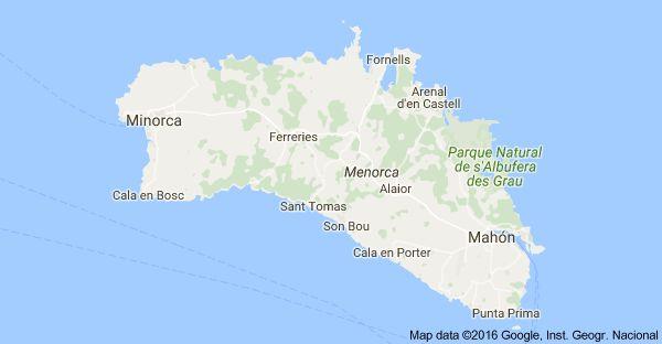 Mappa di: Minorca, Baleari, Spagna