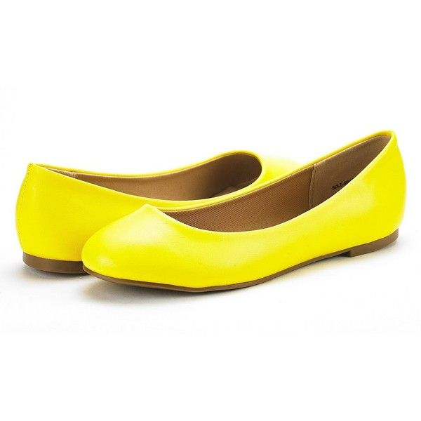 Dream Pairs Women's Sole Simple Yellow Pu Ballerina Walking Flats... (1,170 INR) ❤ liked on Polyvore featuring shoes, flats, ballerina flat shoes, ballet shoes, yellow ballet flats, flat pumps and flat shoes