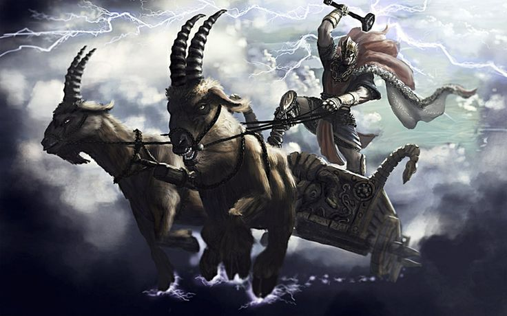 Tanngrisnir- Norse myth: a pair of celestial goats that pulled Thor's chariot. After every victory he and his allies would eat them, but then use his hammer on their bones to resurrect them the next day.