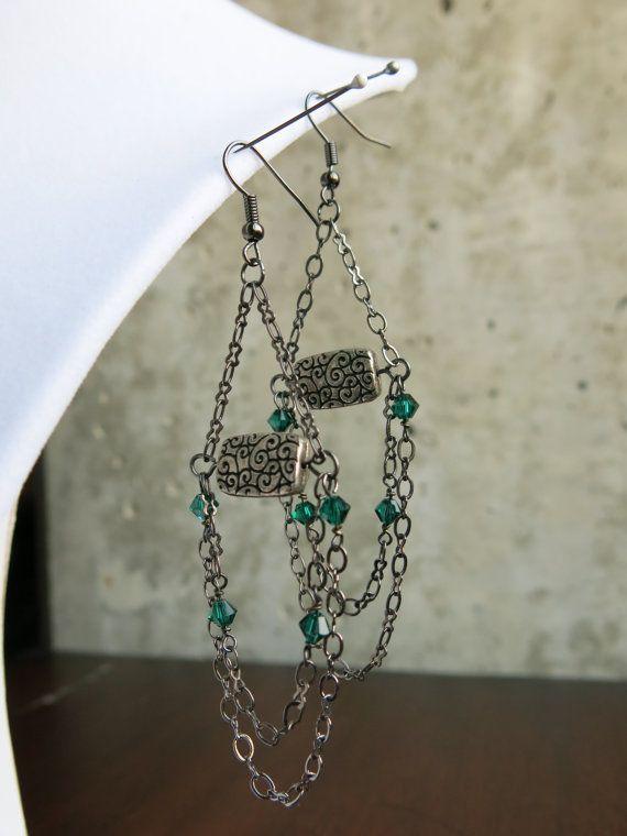 Plata bronce y turquesa pendientes de araña por trogfrog22 en Etsy