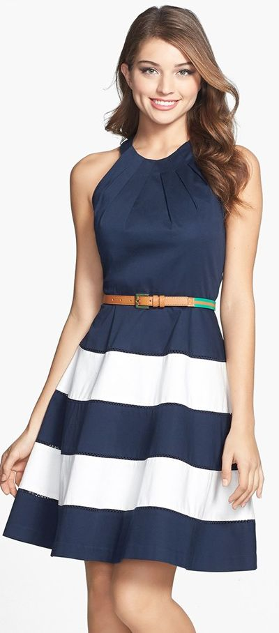 Great length and cut. I do well with this style skirt. I should get away from blue dresses though - that's all I own!