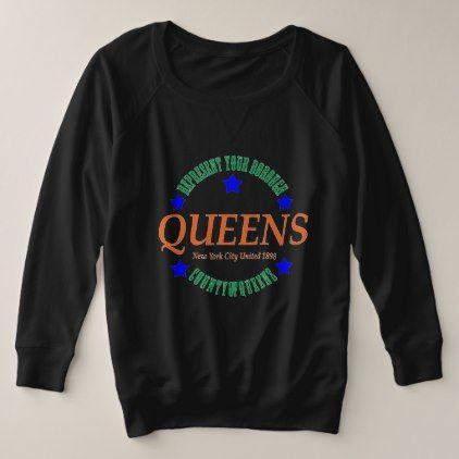 Women's Size French Terry Blk Sweatshirt w/Queens  $65.90  by MeaningfulChoice  - custom gift idea