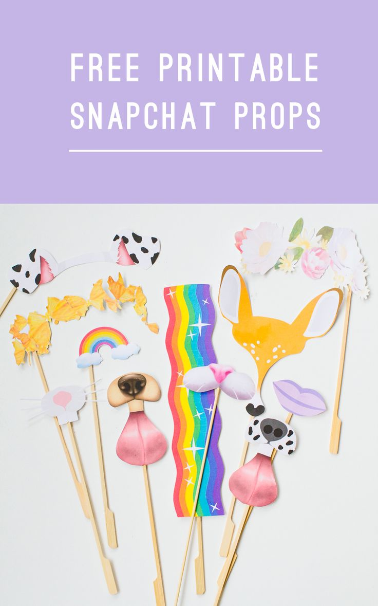 Download these Free Printable Snapchat filter photo booth props.