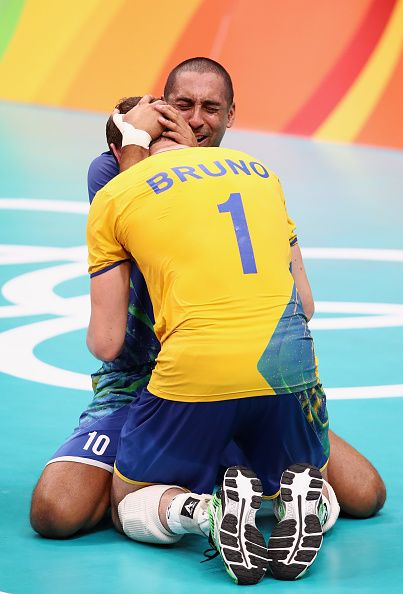 Sergio Dutra Santos and Bruno Rezende of Brazil celebrate after winning the…
