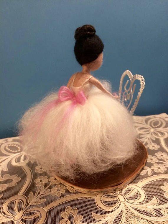 Needle felted ballerina Waldorf inspired Wool fairy Pink