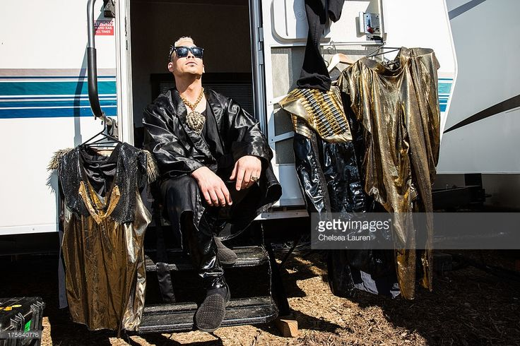Musician Luke Steele of Empire of The Sun poses backstage during day 2 of the HARD Summer festival at Los Angeles State Historic Park on August 4, 2013 in Los Angeles, California.