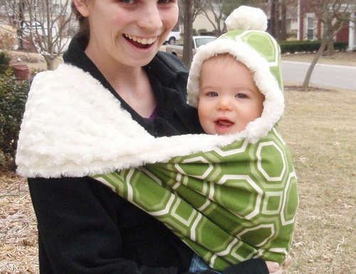 DIY winter baby sling. I've never seen one like this. Very cool.