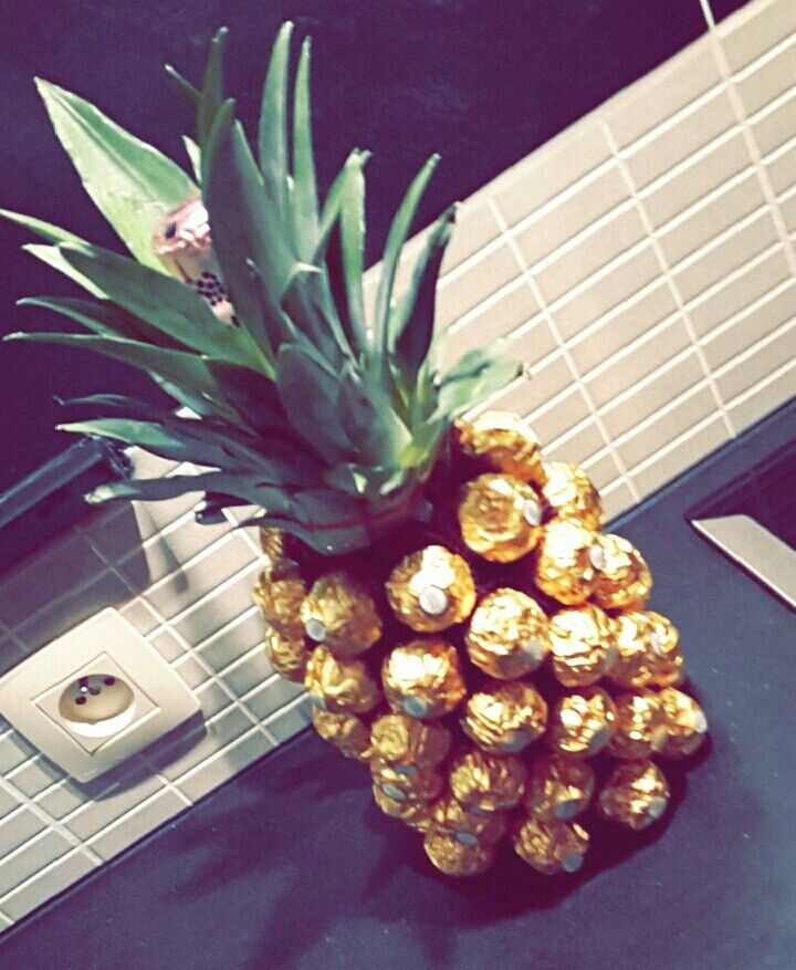 Martini wih ferrero rocher and it looks like a pineapple
