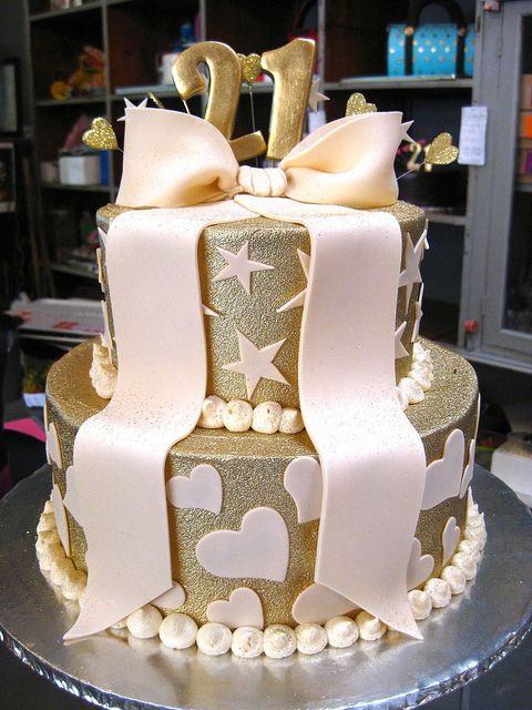 2 Tier Wicked Chocolate Cake Iced In Gold Butter Icing
