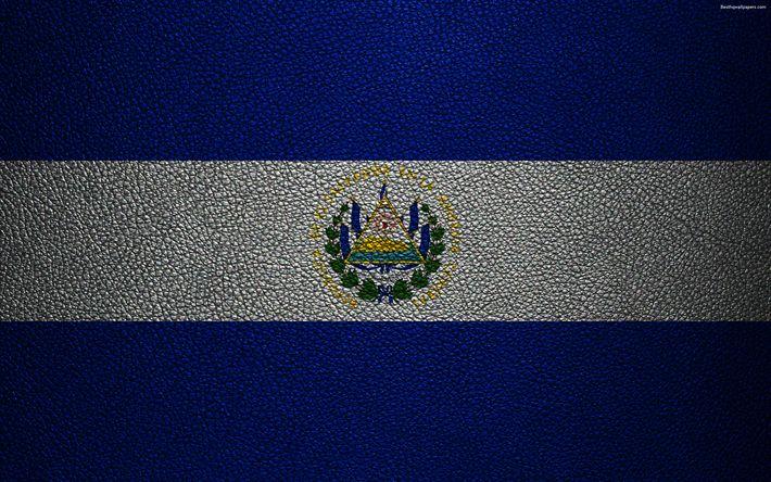 Download wallpapers Flag of El Salvador, 4k, leather texture, North America, Salvadoran flag, flags of the world, El Salvador