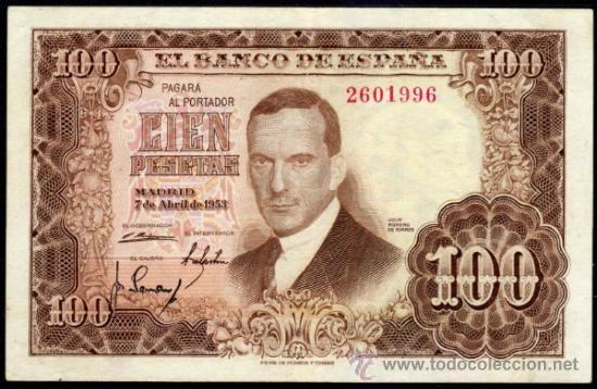 BILLETE ESPAÑA - 100 PESETAS - MADRID 7 DE ABRIL DE 1953 - JULIO ROMERO DE TORRES - SIN SERIE