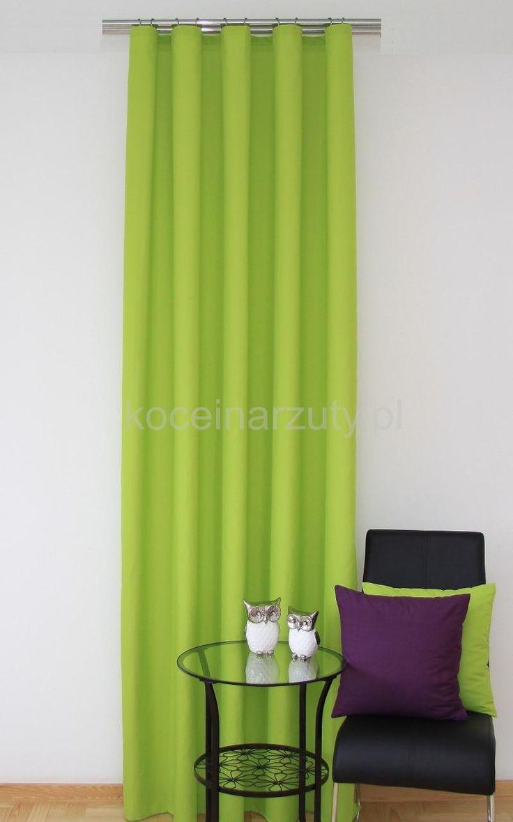 Jednolita zasłona gotowa w kolorze zielonym