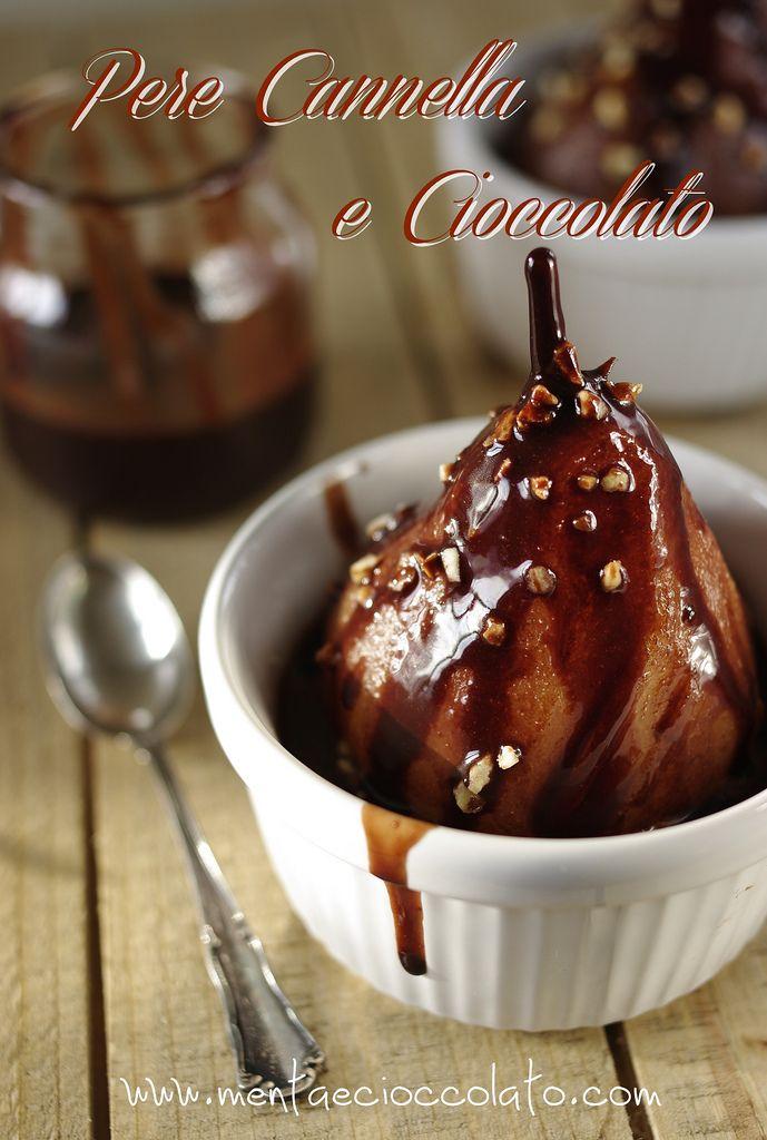 Pere cotte a vapore con cioccolato e cannella... un dolce semplice ma leggero.