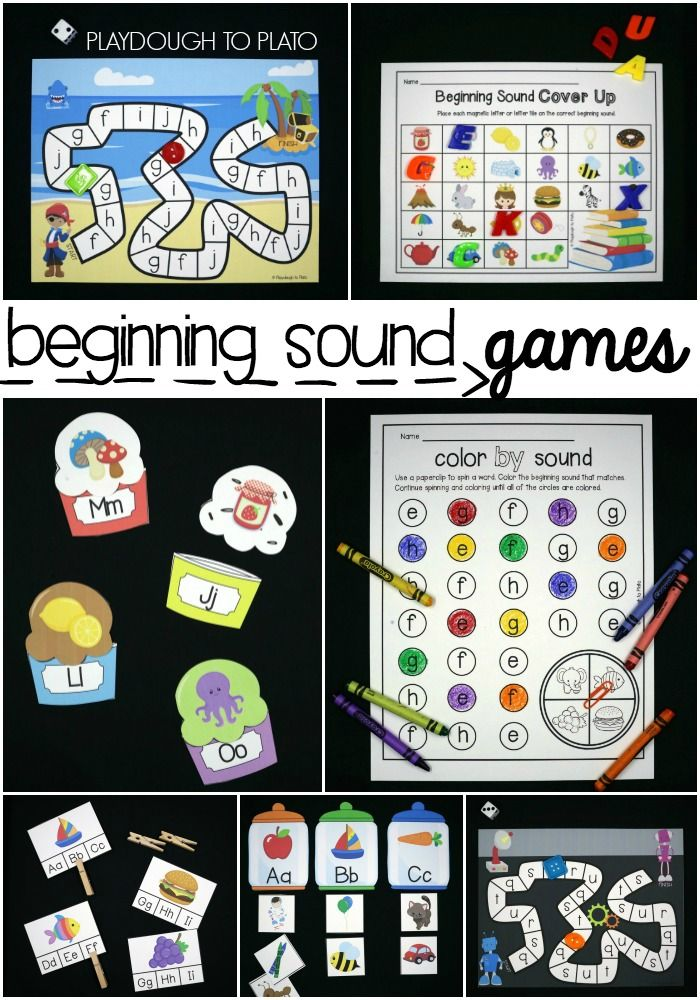 Beginning Sound Games! Lots of fun beginning sound activities and literacy centers- letter match up, clip the beginning sounds, color by sounds, editable word work board games more! Great for teaching preschool and kindergartners their beginning sounds!