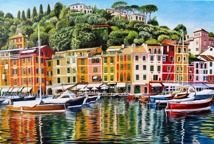 Portofino On Reflection. Original oil painting on canvas 30 X 20 inches by Roger. N. Turner. Portofino on the Italian Riviera is a picturesque and colourful Italian fishing village and harbour in the province of Genoa, frequented by the rich and famous. The painting highlights the colourful buildings and the powerful reflections in the waters of the harbour on a summers day in strong, crisp daylight.  See: http://www.rogerturnerart.com/Portofino
