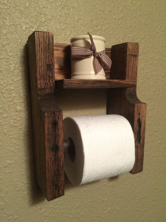Pallet Toilet Paper Holder with Shelf by lilbucksshop on Etsy