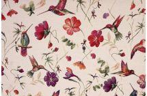 Dekorační látka se vzorem ptáků a květin 1138/051