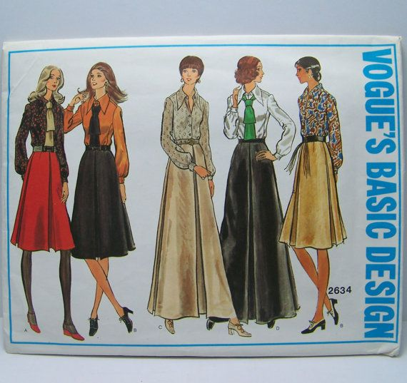 Vintage 1970s Uncut Misses Skirt Shirt and by SewingPatternsPast, $12.00
