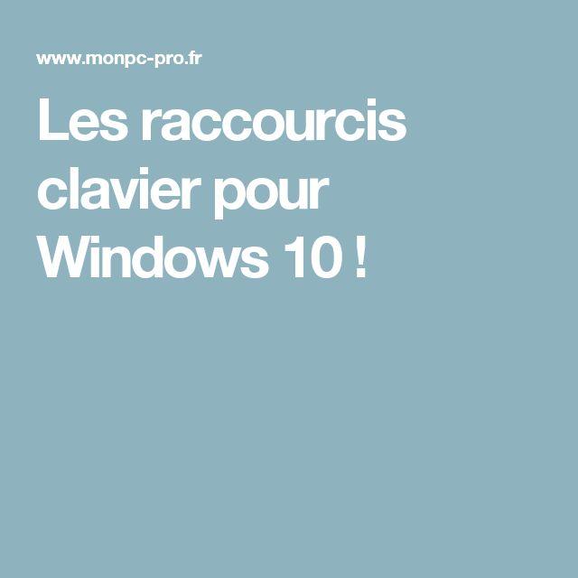 Les raccourcis clavier pour Windows 10 !