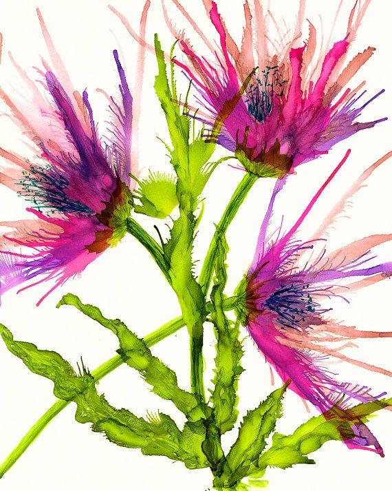 Disteln im Garten diente als Inspiration für diesen Alkohol Tuschemalerei auf Velum. Fertig mit UV-Schutzmittel Lack. Dies ist ein original Kunstwerk Alkohol Tinte. 8 x 10 mattiert, 11 x 14 mit einer Säure freie weiße Matte. Bereit für Ihren Rahmen. Signiert vom Künstler.  Bild von Malerei mit Rahmen ist nur gegenständliche. Frame nicht enthalten.   Alkohol-Tinten in lebendigen Farben auf Yupo. Farben variieren basierend auf Ihrem Monitor.  Copyright Korinne Carpino 2016. Alle Rechte…