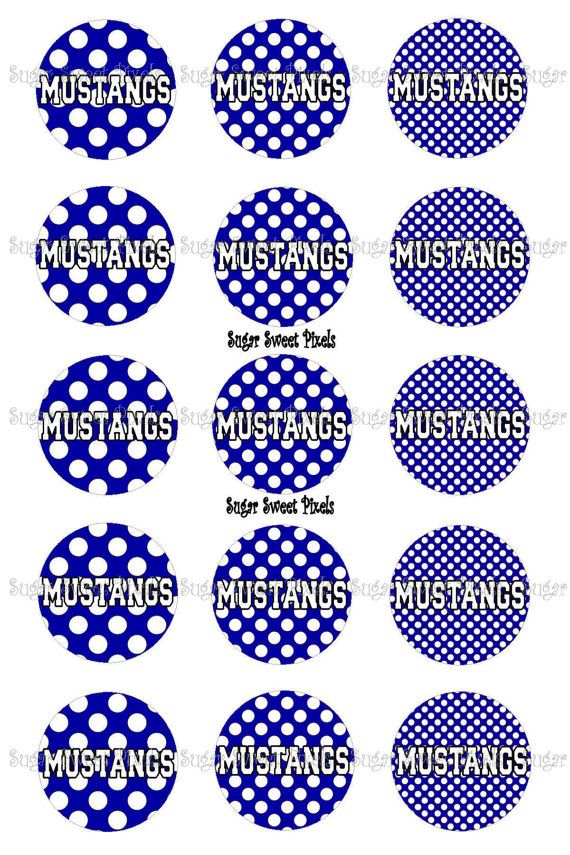 INSTANT DOWNLOAD Blue Mustangs polka dots School by sugarnspicebow
