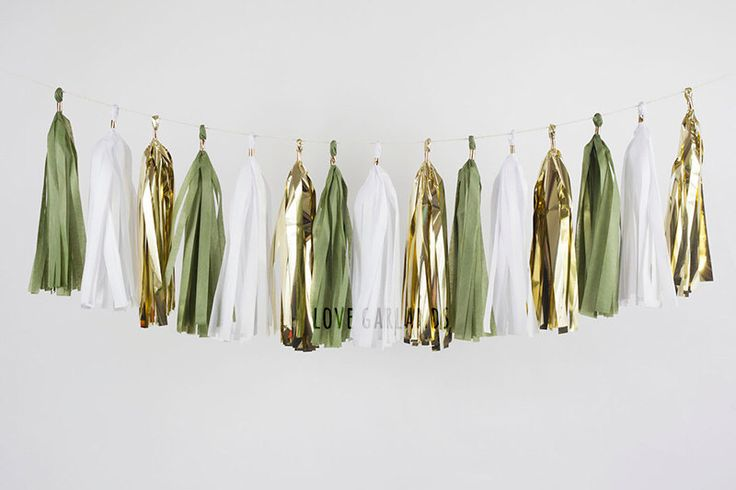 Olive Green White Gold Tassel Garland, Sage Green Garland, Aloe Green Party Decor, Sage Green Bridal Shower, Olive Green Wedding Decor by LoveGarlands on Etsy https://www.etsy.com/listing/257554617/olive-green-white-gold-tassel-garland