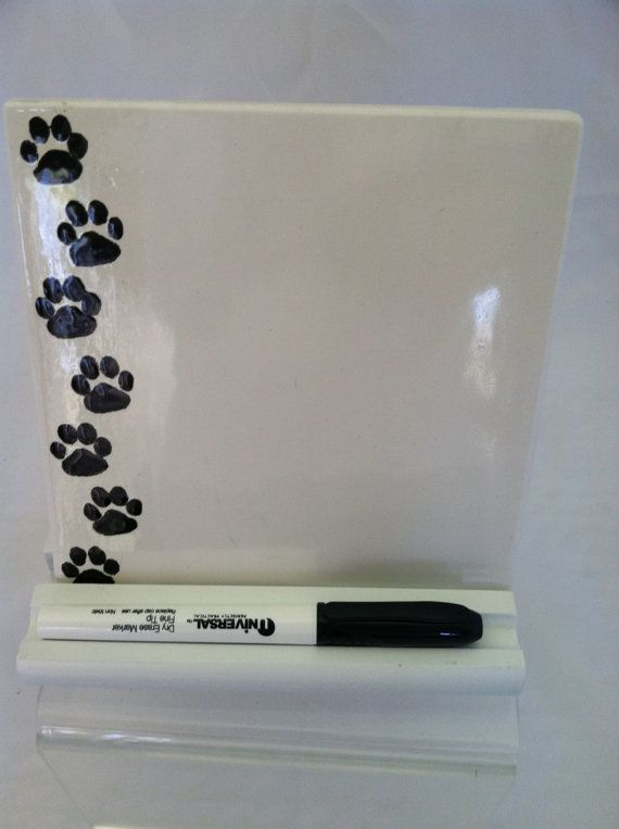 Ceramic Tile Dry Erase Message Board Paw By Shadylaneceramics 15 00