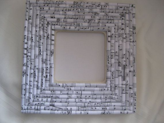 Musical notes paper picture frame, gift for any occasion, hand crafted,