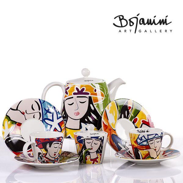 Bojanini Muestra tu buen gusto por el arte en todas los elementos de tu hogar, Set de té para 4,  pintado a mano.