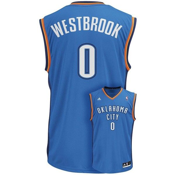 Men's Adidas Oklahoma City Thunder Russell Westbrook NBA Jersey ($70) ❤ liked on Polyvore featuring men's fashion, men's clothing, blue, mens jerseys, mens clothing and men's apparel