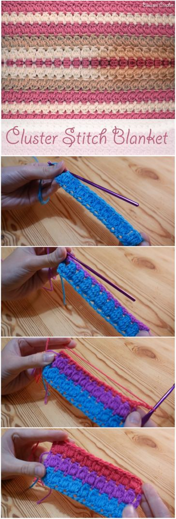 Cluster Stitch Blanket Crochet Tutorial