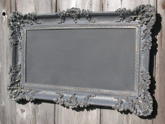 Idea for making my own chalk board from vintage frame & board w/ chalk board paint on it.