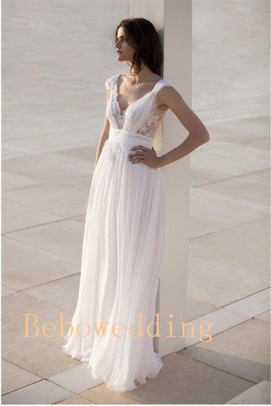 Floor length chiffon lace elegant wedding dress by Bebowedding