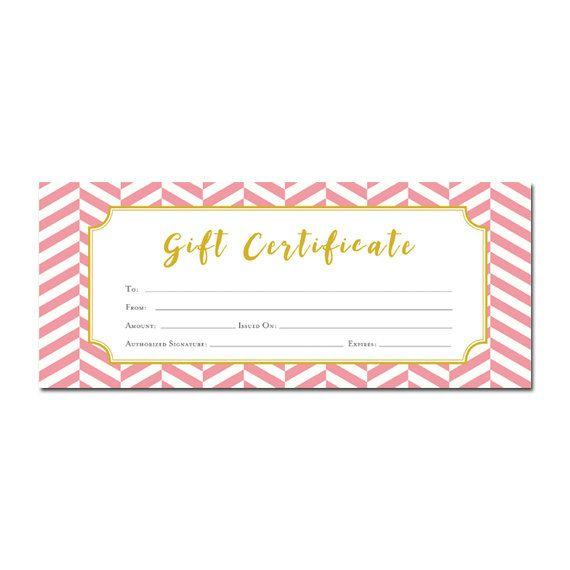 Pink And Gold Chevron Gift Certificate Download, Premade Gift Certificate  Template, Last Minute Gift