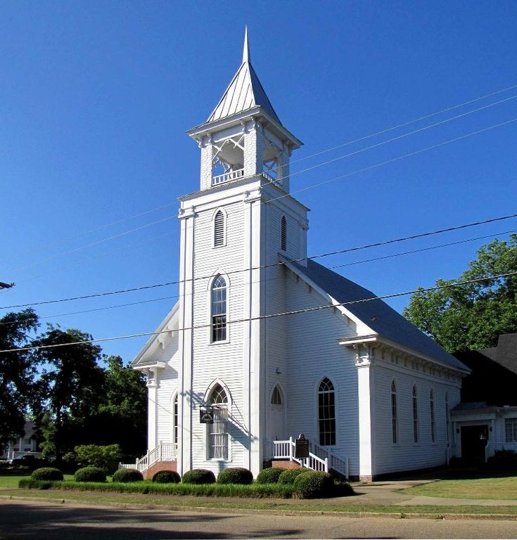 """First Presbyterian Church at Camden, AL (built mid-1880s) --- This church congregation was organized in 1845.  The original church building was erected in 1856.  It burned on September 17, 1869 and the present building was constructed in the mid-1880s.  It features an open shingle covered belfry with """"stick-style"""" trim and bracketed cornice. For additional details, go to www.ruralswalabama.org/attractions/first-presbyterian-church-of-camden-at-camden-al-built-mid-1880s/."""
