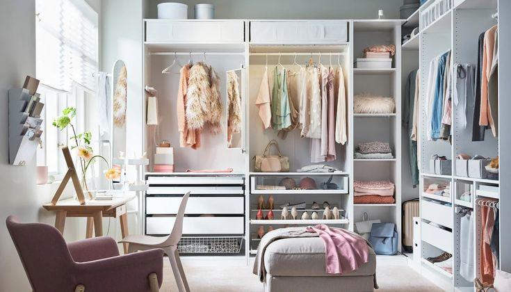 Ocho muebles y accesorios de IKEA que te ahorran tiempo y mantienen tu ropa ordenada después del cambio de armario | Telva.com Ikea Closet System, Ikea Pax Closet, Ikea Bedroom, Bedroom Storage, Ikea Storage, Extra Storage, Bedroom Furniture, Placard Pax Ikea, Closet Planner